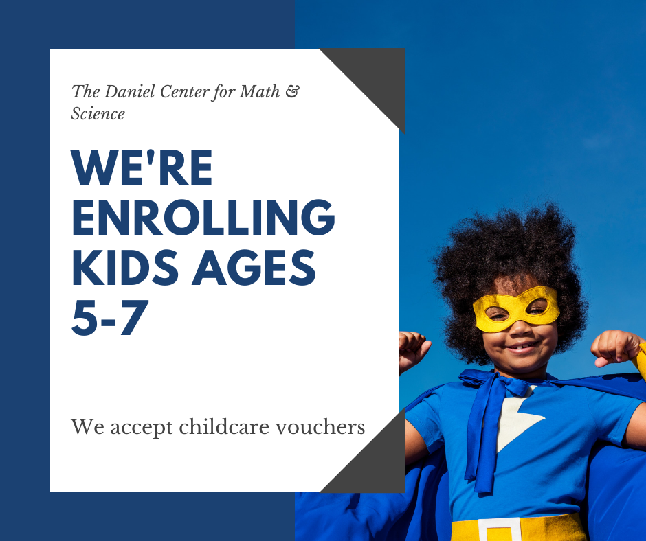 Little girl in superhero costume & the words 'we're enrolling kids ages 5-7'